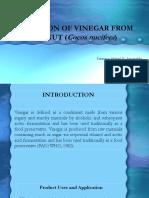 Production of Vinegar From Coconut (Cocos Nucifera)