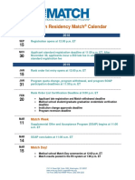 2019 Main Residency Match Calendar 1
