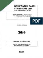 The Swiss Watch Parts Distributors Catalog - September 2010