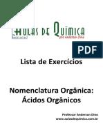 Aulas de Química - Anderson Dino - Ácidos orgânicos - Nomenclatura e exercícios com gabarito