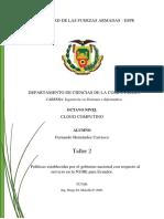 Políticas establecidas por el gobierno nacional con respecto al  servicio en la NUBE para Ecuador.
