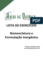 Aulas de Química - Anderson Dino - Nomenclatura e Formulação Inorgânica
