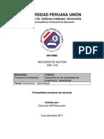 Indicador IG25- 31N Puntualidad Del Docente