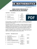 Year 12 Meth Chapter Summary