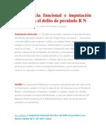 Competencia Funcional e Imputación Objetiva en El Delito de Peculado R N