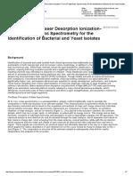 Communiqué - Matrix-Assisted Laser Desorption Ionization-Time of Flight Mass Spectrometrys