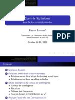 Cours de Statistiques - Pour La Description de ... - Romain Raveaux