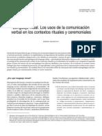 Lenguaje Ritual. Los usos de la comunicación verbal en los contextos rituales y ceremoniales