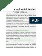 Bloques Multinutricionales Para Ovinos