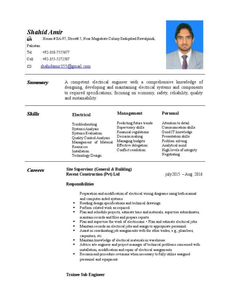 My New Cv Shahid | Engineer | Electrician