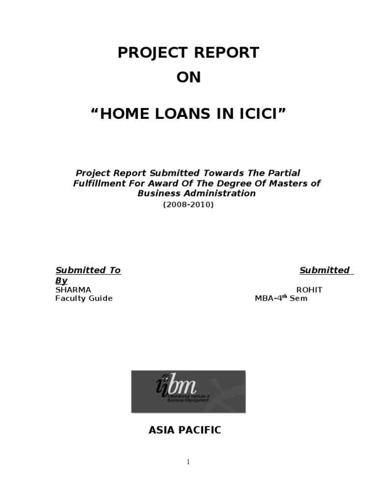 icici home loans project report mortgage loan loans rh scribd com home project loans wells fargo project report on home loans