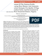 An Assessment of the Nutrient Profile Accumulated Laying Hens Manure and Ammonia Emissions Reduction Strategies for Quality of Egg Production Resident Safety and Environment in the Rivers West