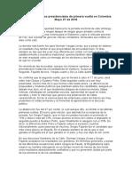 Análisis elecciones presidenciales de primera vuelta en Colombia Mayo 27 de 2018