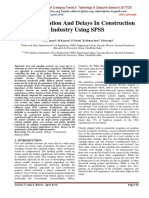 Cost Escalation And Delays In Construction Industry Using SPSS