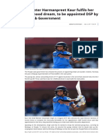 Harmanpreet Kaur to Be Appointed as DSP in Punjab Police