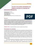 Diseño de Propuesta de Titulación Experiencia en Estudiantes Normalistas Bajo El Enfoque de Educación Imaginativa