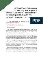 Aprueban El Texto Único Ordenado de La Ley Nº 27584, Ley Que Regula El Proceso Contencioso Administrativo, Modificado Por El D. Leg. Nº 1067