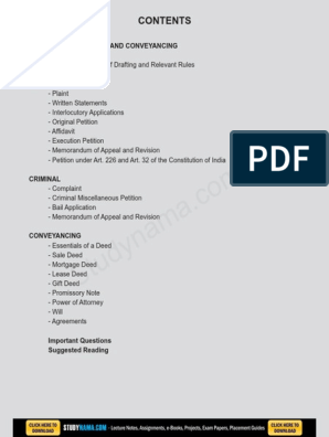 Drafting of Pleading & Conveyance eBook & Lecture Notes PDF