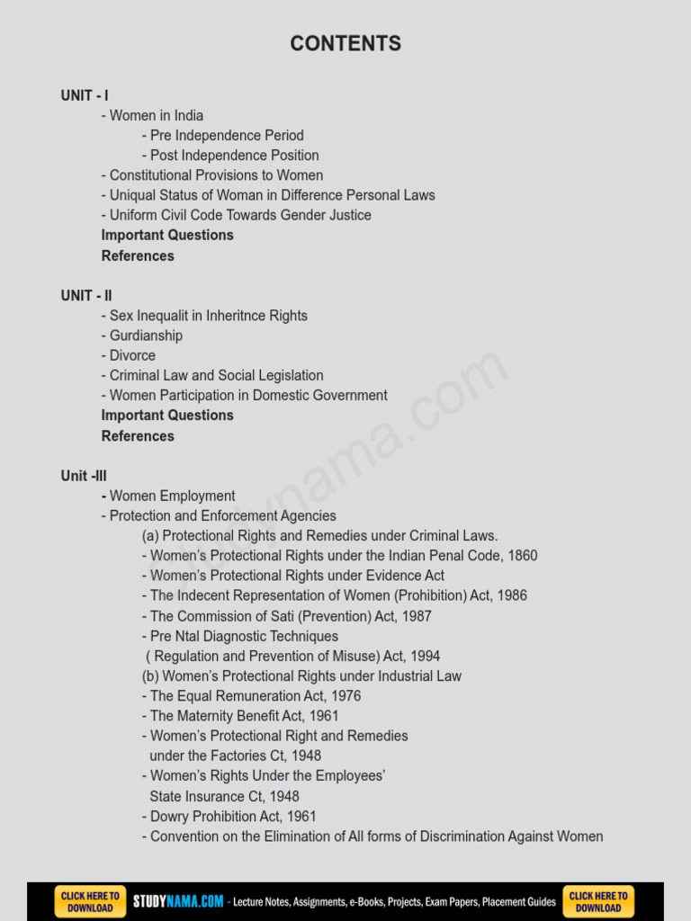 Women & Child Law eBook & Lecture Notes PDF Download