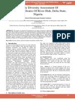 Density Diversity Assessment of Macroinvertebrates of River Illah Delta State Nigeria