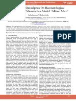 Impact of Quinalphos on Haematological Parameters of Mammalian Model Albino Mice