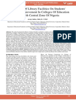 Influence of Library Facilities on Students Academic Achievement in Colleges of Education in North Central Zone of Nigeria