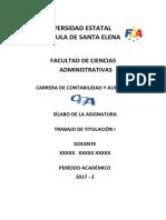 Syllabus de Trabajo de Titulación I CyA 2017-2