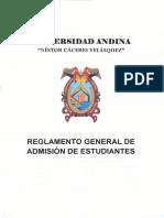 Reglamento General de Admisión de Estudiantes