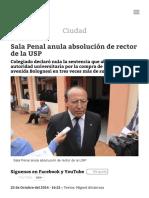 Sala Penal Anula Absolución de Rector de La USP _ Diario Correo