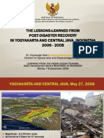 Lessons Learned from Post-Disaster Recovery in Yogyakarta and Central Java, Indonesia