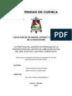 LA PRÁCTICA DEL AJEDREZ EN PERSONAS DE LA  TERCERA EDAD DEL CENTRO DE JUBILACION ACTIVA  DEL IESS, EFECTOS Y ESTUDIO