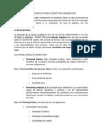 Formas y Requisitos Para Constituir Un Negocio