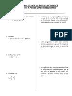 Examen Ingresantes Al Primer Año 2017 Área Matematica