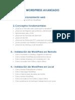 Temario Wordpress Nivel 2 Avanzado