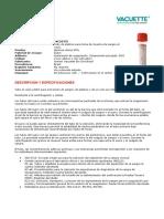 Especificaciones Tecnicas Vacuette Tubo de Suero Sin Aditivo