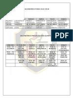 Calendário Para Ceia 2018