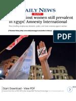 Violence Against Women Still Prevalent in Egypt