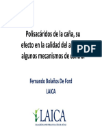 Polisácaridos de La Caña, Su Efecto en La Calidad Del Azúcar y Algunos Mecanismos de Control