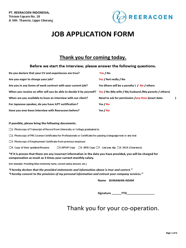 Pt Reeracoen Indonesia Job Application Form 2
