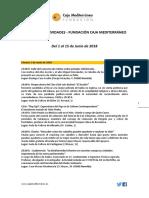 Agenda Actividades Destacadas. Del 1 al 15 de junio de 2018. Fundación Caja Mediterráneo
