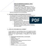 DERECHO URBANÍSTICO - LEY ORGÁNICA DE MUNICIPALIDADES N° 27972