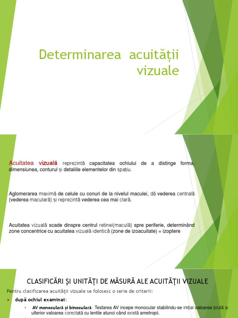 determinarea acuității vizuale