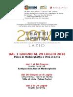 Comunicato Stampa TEATRI DI PIETRA 2018 -Malborghetto e Villa Di Livia