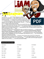 Cloze Testwriting William Shakespearekey is Given Grammar Drills Tests Writing Creative Writing Task 80918