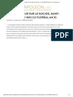 Ordre Du Jour Sur Le Suicide, Saint-Cloud, 12 Mai 1802 (22 Floréal an X)