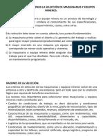 10 Criterios Generales Para La Selección de Maquinarias y Equipos Mineros