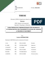 ARACTERISATION THERMOPHYSIQUE DES MATERIAUX ET MODELISATION DES TRANSFERTS COUPLES DE CHALEUR  A TRAVERS UN BATIMENT