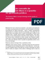 O sentido do conceito de ideologia em Marx e a questão da igualdade jurídica - Mozart Silvano Pereira
