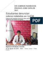 Denuncian Cobros Indebidos y Extorsion en Universidad Jose Carlos Mariategui