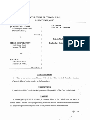 Lawsuit filed by Jackie Adams against STERIS | Sexual Harassment